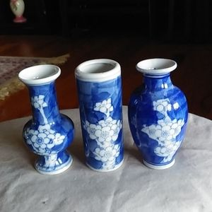 Set of minature Asian look vases
